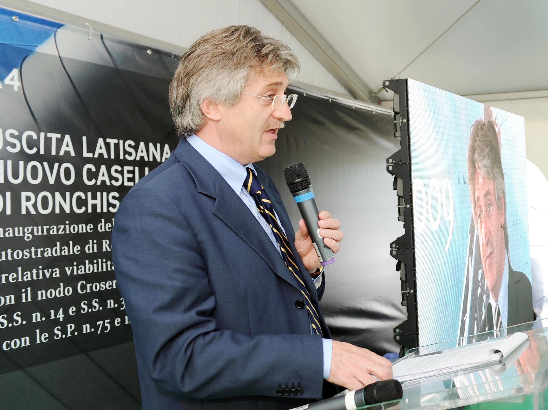 Renzo Tondo (Presidente Friuli Venezia Giulia) all'inaugurazione del nuovo casello di Ronchis (A4, uscita Latisana). (Ronchis di Latisana 12/06/09)
