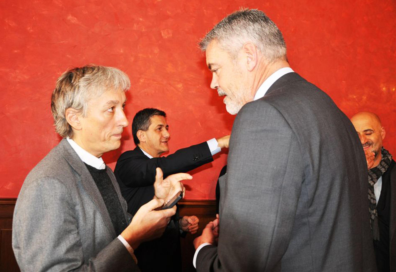 """Riccardo Luna (Presidente Associazione Wikitalia) e Paolo Panontin (Assessore regionale Funzione pubblica) alla presentazione del Progetto di Open Government """"Go-On-Italia"""", nella sede di rappresentanza della Regione FVG - Roma 11/12/2013"""
