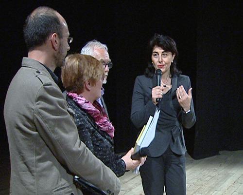 Mariagrazia Santoro (Assessore regionale Pianificazione territoriale) alla presentazione del documentario sui magredi girato dalle Produzioni televisive dell'Ufficio Stampa e Comunicazione della Regione Friuli Venezia Giulia - Cordenons 10/04/2014