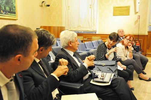 Debora Serracchiani (Presidente Regione Friuli Venezia Giulia) all'incontro per la ratifica della Carta europea delle Lingue minoritarie, con Francesco Palermo (Senatore) e una delegazione friulana, in Senato - Roma 16/09/2014