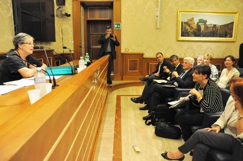 Silvana Schiavi Fachin (Delegata Comitato 482 Rapporti con Parlamento ) e Debora Serracchiani (Presidente Regione Friuli Venezia Giulia) all'incontro per la ratifica della Carta europea delle Lingue minoritarie, con Francesco Palermo (Senatore) e una delegazione friulana, in Senato - Roma 16/09/2014