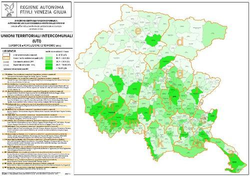 Mappa delle Unioni Territoriali Intercomunali (UTI), superficie e popolazione (censimento 2011)
