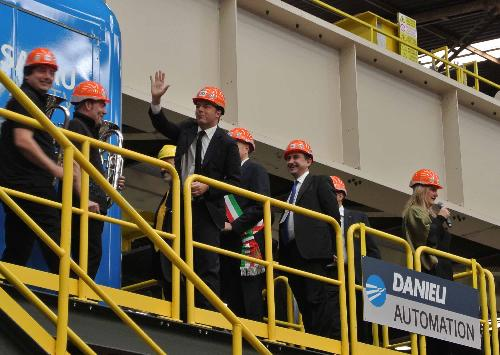 Matteo Renzi (Presidente Consiglio dei Ministri) ed Ettore Rosato (Deputato) all'inaugurazione della Rotoforgia nello stabilimento delle Acciaierie Bertoli Safau (ABS) del Gruppo Danieli - Cargnacco 17/10/2015
