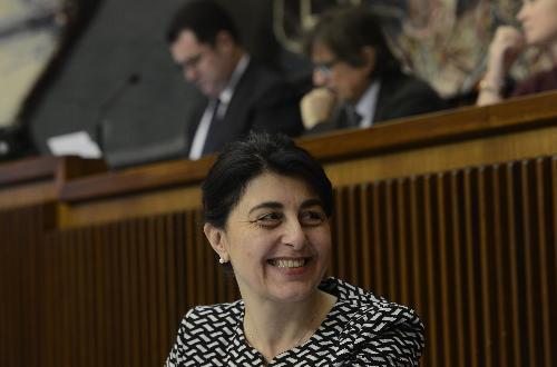 Mariagrazia Santoro (Assessore regionale Infrastrutture e Territorio) nell'Aula del Consiglio regionale - Trieste 01/02/2016
