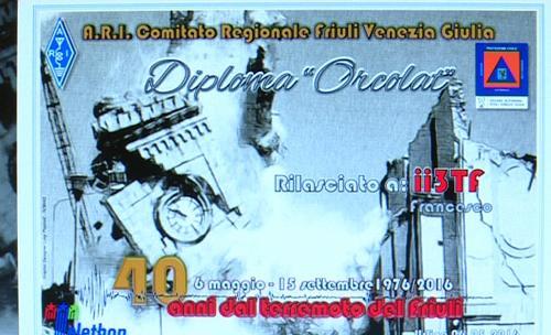 Presentazione del diploma a carattere temporaneo denominato Orcolat istituito dal Comitato regionale A.R.I. FVG, a 40 anni dal terremoto del Friuli, nella sede della Protezione civile - Palmanova 14/04/2016
