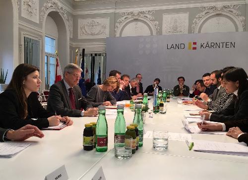 Riunione sul progetto Pramollo, con Peter Kaiser (Governatore Land Carinzia) e Debora Serracchiani (Presidente Regione Friuli Venezia Giulia), nella sede del Land Carinzia - Klagenfurt 22/12/2016