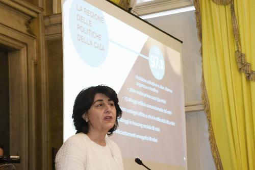 Mariagrazia Santoro (Assessore regionale Infrastrutture e Territorio) durante la conferenza stampa di fine anno - Trieste 23/12/2016