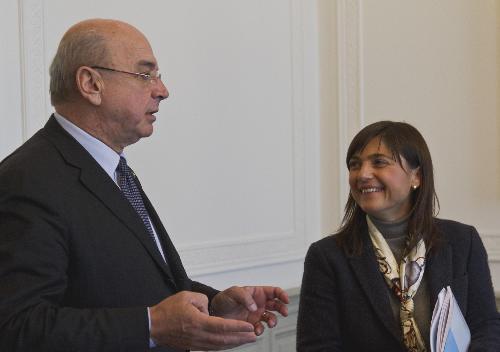 Roberto Dipiazza (Sindaco Trieste) e Debora Serracchiani (Presidente Regione Friuli Venezia Giulia) nella sede della Regione in piazza Unità d'Italia - Trieste 04/01/2017