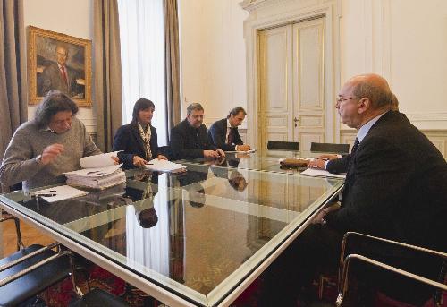 Debora Serracchiani (Presidente Regione Friuli Venezia Giulia) incontra Roberto Dipiazza (Sindaco Trieste) nella sede della Regione in piazza Unità d'Italia - Trieste 04/01/2017