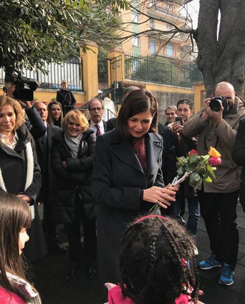 Laura Boldrini (Presidente Camera) durante la visita alla Fondazione Luchetta Ota D'Angelo Hrovatin - Trieste 17/02/2017
