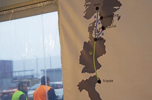 Pannello della direttrice Trieste-Kiel-Göteborg, al Terminal EMT (Europa Multipurpose Terminals) - Trieste 22/02/2017