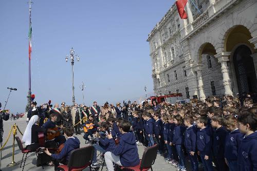 Celebrazioni della Giornata dell'Unità nazionale, della Costituzione, dell'Inno e della Bandiera, in piazza Unità d'Italia - Trieste 17/03/2017