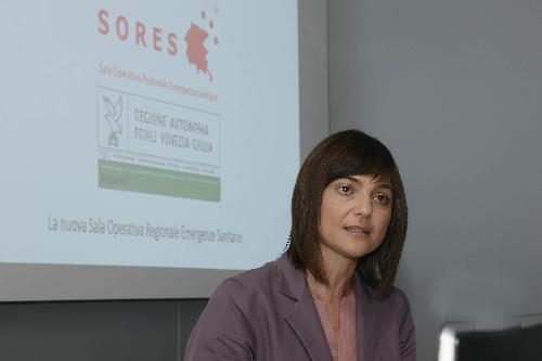 Debora Serracchiani (Presidente Regione Friuli Venezia Giulia) alla presentazione dei primi dati sull'attività della Sala Operativa Regionale Emergenze Sanitarie (SORES) - Palmanova 12/04/2017