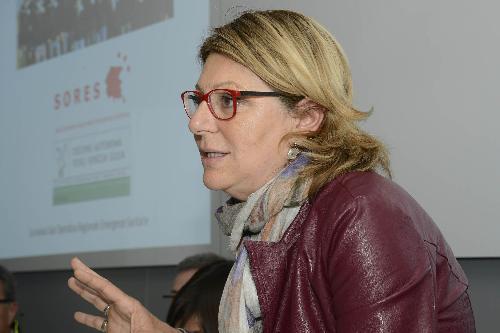 Maria Sandra Telesca (Assessore regionale Salute) alla presentazione dei primi dati sull'attività della Sala Operativa Regionale Emergenze Sanitarie (SORES) - Palmanova 12/04/2017