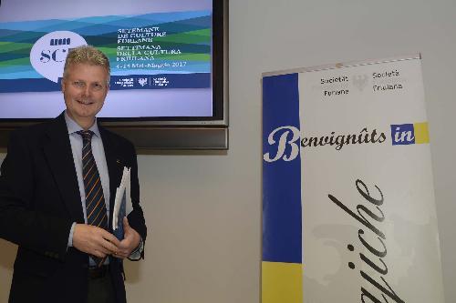Federico Vicario (Presidente Società Filologica Friulana / SFF) alla presentazione della Settimana della cultura friulana - Udine 24/04/2017
