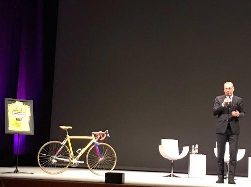 Sergio Bolzonello (Vicepresidente Regione FVG e assessore Attività produttive, Turismo e Cooperazione) alla presentazione delle tappe del 100° Giro d'Italia che si correranno in FVG - Pordenone 25/04/2017