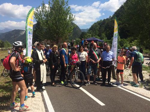 Mariagrazia Santoro (Assessore regionale Infrastrutture e Territorio) all'inaugurazione del tratto Resiutta-Moggio della ciclovia Alpe Adria - Resiutta 28/05/2017