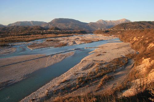 Panorama del Tagliamento scattata dal belvedere di Aonedis - 09/11/2008 (Foto Marino Del Piccolo)
