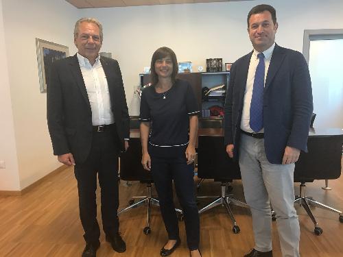 Debora Serracchiani (Presidente Regione Friuli Venezia Giulia) e Franco Iacop (Presidente Consiglio regionale) incontrano Pietro Federico Delaini (Socio privato GeTur) - Udine, 19/06/2017