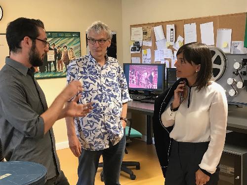 Livio Jacob (Presidente e direttore della Cineteca) e Debora Serracchiani (Presidente Regione Friuli Venezia Giulia) in visita all'Archivio Cinema del Friuli Venezia Giulia - Gemona del Friuli 20/06/2017