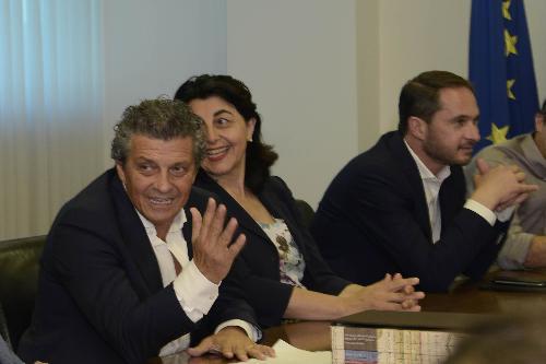 Francesco Martines (Sindaco Palmanova), Mariagrazia Santoro (Assessore regionale Infrastrutture e Territorio) e Cristiano Shaurli (Assessore regionale Risorse agricole e forestali) in conferenza stampa sul Tavolo permanente del Patrimonio UNESCO del FVG - Udine 13/07/2017
