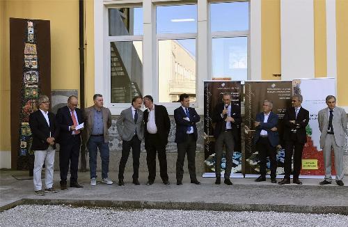 Sergio Bolzonello (Vicepresidente Regione FVG e assessore Attività produttive, Turismo e Cooperazione) e Franco Iacop (Presidente Consiglio regionale) alla cerimonia di inaugurazione della mostra Mosaico&Mosaici 2017 - Spilimbergo 28/07/2017
