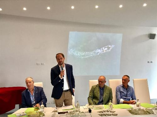 """Cristiano Shaurli (Assessore regionale Risorse agricole e forestali) alla presentazione di """"Boschinfesta"""" - Lignano Sabbiadoro 11/09/2017"""