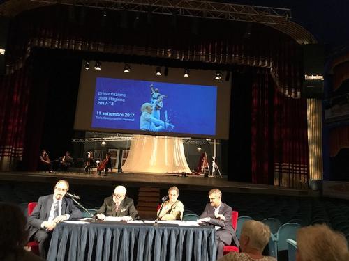 Gianni Torrenti (Assessore regionale Cultura, Sport e Solidarietà) alla presentazione della stagione 2017-2018 del Teatro Stabile del Friuli Venezia Giulia - Trieste 11/09/2017