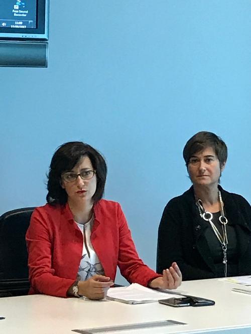Sara Vito (Assessore regionale Ambiente ed Energia) e Francesca Visentin (Presidente Rete italiana EGB) alla presentazione delle iniziative dedicate a celebrare la nascita della European Green Belt (EGB) - Udine 13/09/2017