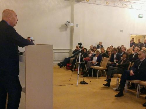 Debora Serracchiani (Presidente Regione Friuli Venezia Giulia) assiste alla rievocazione di Osiride Brovedani fatta da Paolo Mieli (Giornalista e storico) - Trieste 19/09/2017