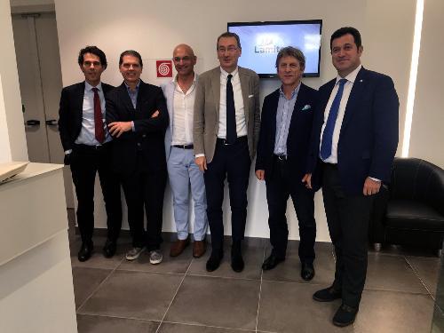 Sergio Bolzonello (Vicepresidente Regione FVG e assessore Attività produttive, Turismo e Cooperazione) e Franco Iacop (Presidente Consiglio regionale) durante la visita alla Lamitex - Spilimbergo 25/09/2017