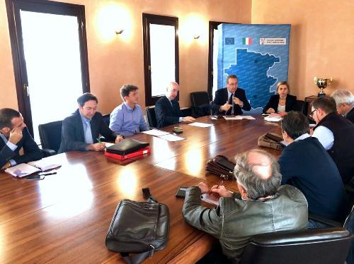 Sergio Bolzonello (Vicepresidente Regione FVG e assessore Attività produttive, Turismo e Cooperazione) incontra le organizzazioni sindacali e i rappresentanti di Friulia, cooperativa Idealscala, Mobiltrade e Unindustria - Pordenone 28/09/2017