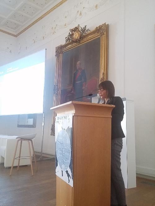 Debora Serracchiani (Presidente Regione Friuli Venezia Giulia) interviene alla cerimonia per il cinquantennale dell'oleodotto Tal - Ingoldstadt 05/10/2017