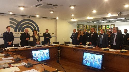Francesco Peroni (Assessore regionale Finanze, Patrimonio, Coordinamento e Programmazione Politiche economiche e comunitarie) durante i lavori della Conferenza Stato-Regioni - Roma 05/10/2017