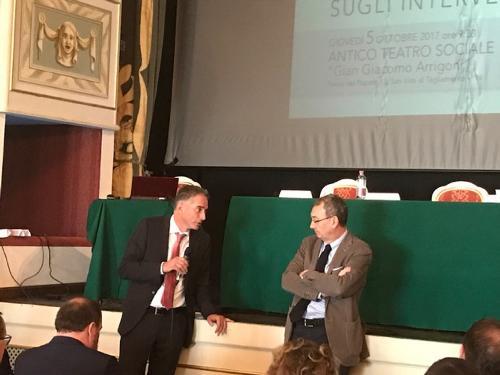 Fabio Benedetti (Presidente Condifesa FVG) e Sergio Bolzonello (Vicepresidente Regione FVG e assessore Attività produttive, Turismo e Cooperazione) al convegno sulla gestione del rischio dell'impresa agricola - San Vito al Tagliamento 05/10/2017