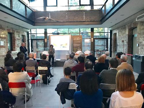 Sara Vito (Assessore regionale Ambiente ed Energia) alla presentazione del progetto GeoTrAC nella sede del Museo friulano di storia naturale - Udine 23/10/2017