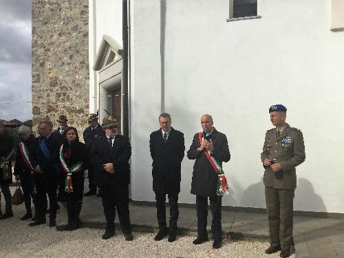 Sergio Bolzonello (Vicepresidente Regione FVG e assessore Attività produttive, Turismo e Cooperazione) e Nicola Turello (Sindaco Pozzuolo del Friuli) alla cerimonia per la riapertura del museo presso il Tempio di Cargnacco - Cargnacco 05/11/2017