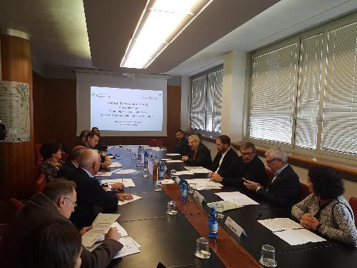 Cristiano Shaurli (Assessore regionale Risorse agricole e forestali) alla conferenza stampa di presentazione della III asta regionale del legname di pregio - Udine 24/11/2017