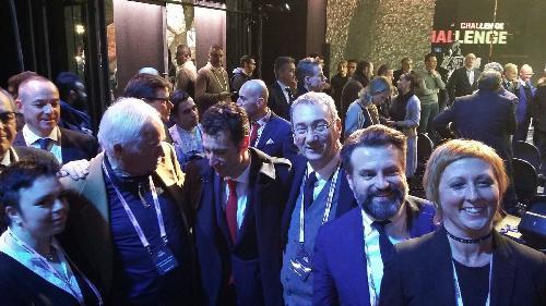 Sergio Bolzonello (Vicepresidente Regione FVG e assessore Attività produttive, Turismo e Cooperazione) con Enzo Cainero (Project manager) e Vincenzo Nibali (Ciclista) alla presentazione del Giro d'Italia 2018 - Milano 29/11/2017
