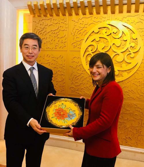 Dai Dongchang (Viceministro Trasporti Cina) e Debora Serracchiani (Presidente Regione Friuli Venezia Giulia) - Shanghai 05/12/2017