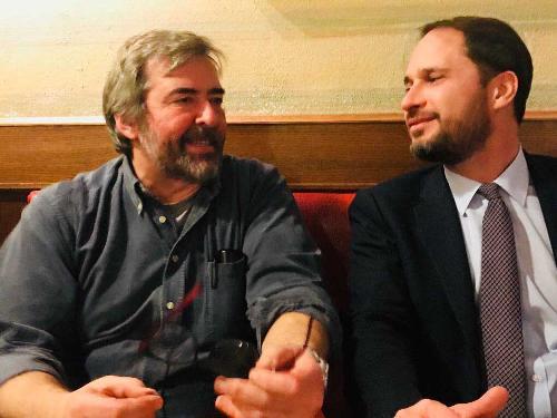 Gunnar Cautero e Cristiano Shaurli (Assessore regionale Risorse agricole e forestali) nello stand del FVG ad Artigiano in fiera - Milano 07/12/2017