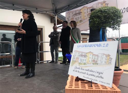 """L'intervento dell'assessore regionale all'Edilizia Mariagrazia Santoro alla cerimonia di posa della prima pietra della struttura """"Lalunanuova 2.0"""" svoltasi a Casarsa della Delizia (Pn)"""