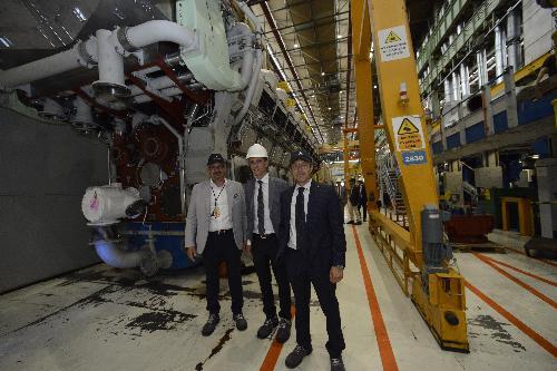 Massimiliano Fedriga (Governatore Regione Friuli Venezia) in visita allo stabilmento Wärtsilä di Bagnoli della Rosandra