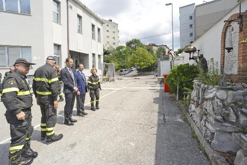 Massimiliano Fedriga (Governatore Regione Friuli Venezia) con il Sottosegretario all'Interno Stefano Candiani, in visita al Comando provinciale dei Vigili del Fuoco - Trieste 12/07/2018