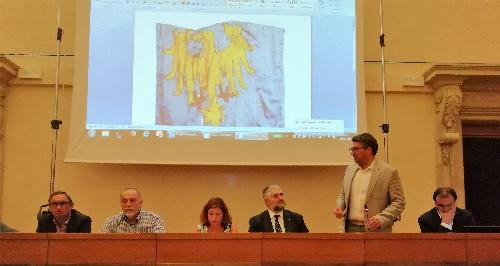 Pierpaolo Roberti, assessore regionale alle Autonomie locali interviene all'Assemblea della Comunità linguistica friulana in sala Aiace a Udine.