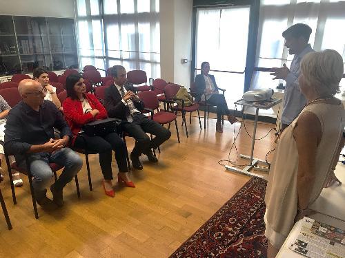 Il governatore del Fvg Massimiliano Fedriga in visita alla Fondazione Bambini e autismo di Pordenone.