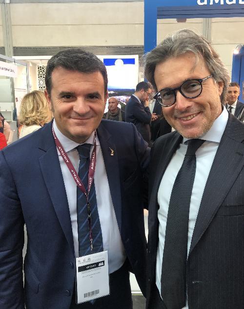 L'assessore regionale al Turismo, Sergio Emidio Bini con il ministro del Turismo, Gian Marco Centinaia