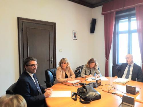 Pierpaolo Roberti, assessore Autonomie Locali, Sicurezza, Immigrazione, Politiche Comunitarie e Corregionali all'Estero, all'incontro con i questori e prefetti del Friuli Venezia Giulia