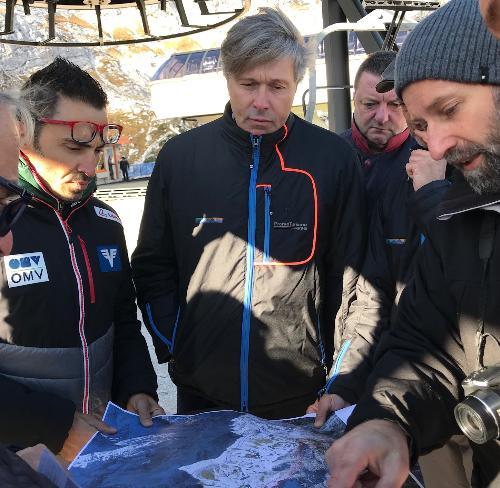 Sopralluogo dell'assessore al Turismo del Fvg, Sergio Emidio Bini, a Sella Nevea