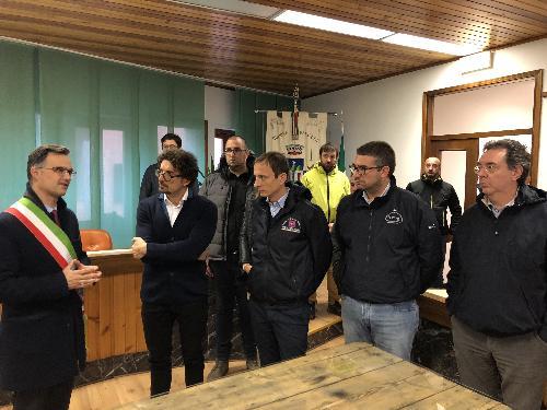 Il governatore FVG, Massimiliano Fedriga, in Municipio a Paluzza con il ministro alle Infrastrutture, Danilo Toninelli, e gli assessori regionali a Infrastrutture, Graziano Pizzimenti, ed Enti locali, Pierpaolo Roberti